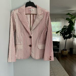 CAbi white and red striped blazer